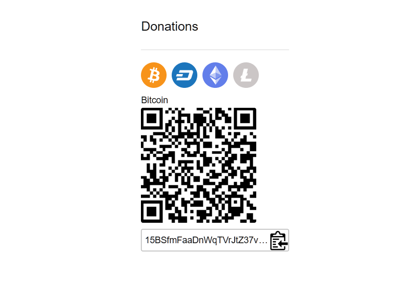 cryptocurrency donation widget